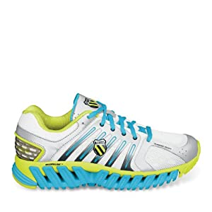 K-Swiss Women's Blade Max Stable Track Shoe,Silver/Optic Yellow/Fiji Blue,8 M US