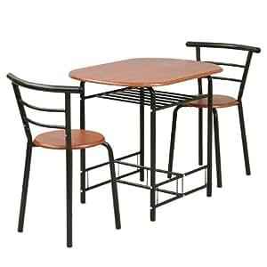山善(YAMAZEN) ベリーベリーキッチン ダイニングテーブル&チェア(3点セット) ダークブラウン/ブラウン YSD-6080(DBR/BR)