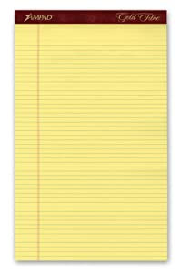 Ampad 20-034 Gold Fibre 16# Watermarked Canary Narrow Rule 50-Sheet Pads, 8-1/2 x 14, Doz.