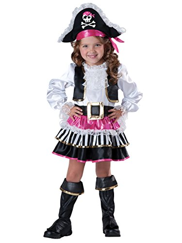 InCharacter Baby Girl's Pirate Girl Costume, Pink/White, 2T