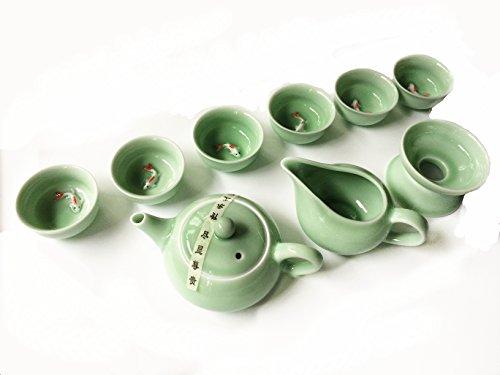 Eternal Chinese Kung Fu Tea Set,Celadon Carp Pattern Tea Cups and Ceramic Tea Pot Set for adults,10-pack