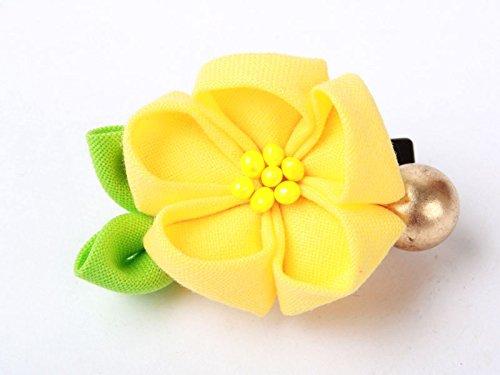 和風 花柄 ヘアピン 和装 髪飾り#黄色