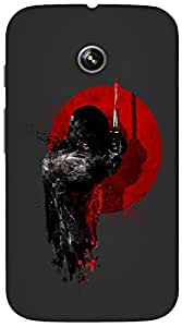 Timpax Protective Hard Back Case Cover With Easy access to all ports Printed Design : A ninja with a sword.Precisely Design For : Motorola Moto-E ( 1st Gen )