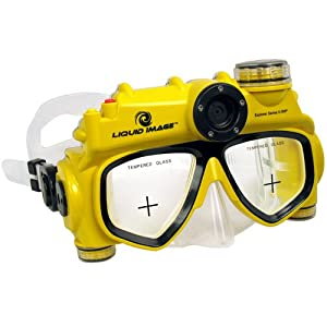 Yellow colored snorkeling mask with underwater camera