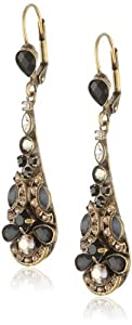 """Sorrelli """"Evening Moon"""" Crystal Peacock Clear and Jet Black Feather Earrings"""