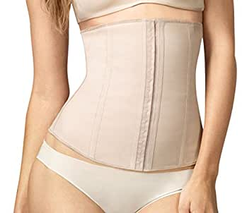 """Squeem """"Perfect Waist"""" Firm Compression Waist Cincher Shapewear, Cotton & Rubber, Beige, Extra Small"""