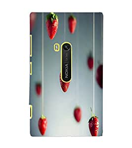 PrintDhaba Strawberries D-1754 Back Case Cover for NOKIA LUMIA 920 (Multi-Coloured)