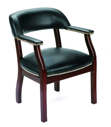 Traditional Black Vinyl Captain's Guest Arm Chair