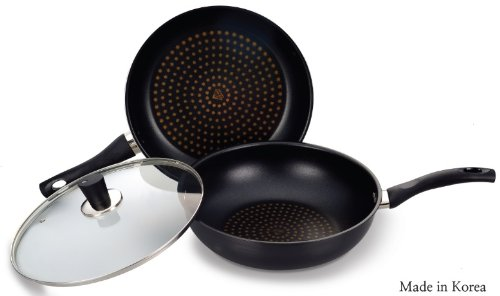 Cooking Art Diamond Frying Pan,wok and Lid 3set 5 Layers 11.81