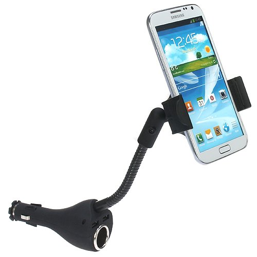 iKross Universal Cigarette Car Mount Holder with 2 USB Port and Extra Socket for HTC Windows Phone 8S, Windows Phone 8X ** include Micro-USB Data Cable