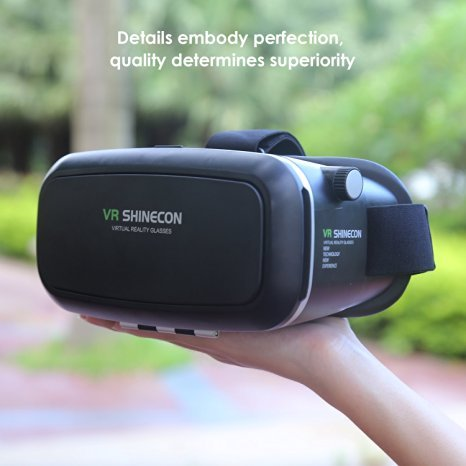 VR Shinecon® 3D Virtual Reality Goggles Headset 3D Viewing Glasses with Pupil Focal Distance Adjustable Suitable for Google iPhone Samsung Note LG Huawei HTC Moto Screen