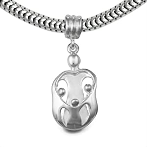 Loving Family® Sterling Silver Heart Gift Charm Mother and 3 Children - Fits Pandora European Charm Bracelets