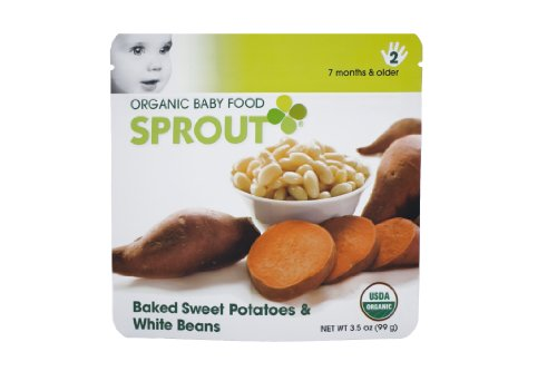Sprout Organic Baby Food, Baked Sweet Potatoes & White Beans, Stage 2, 3.5-Ounce Pouches (Pack of 12)