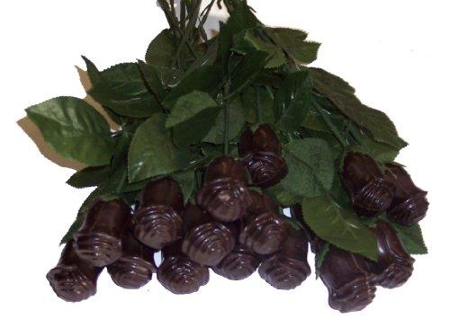Long Stem Solid Chocolate Roses 12 Dark chocolate