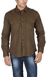 US Polo Assn. Men's Slim Fit Cotton Shirt (USSH3421_Brown_S)