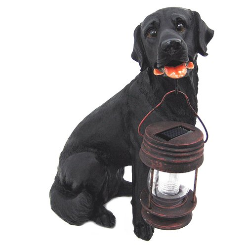 Birugear Black Labrador Dog With Solar Powered Lantern Light