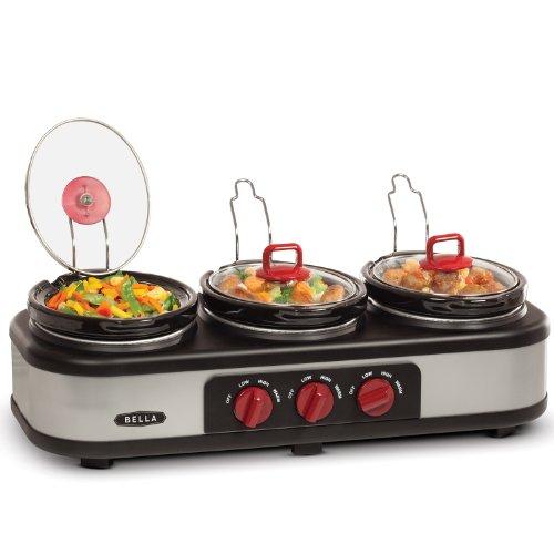 3 X 1.5QT Triple Slow Cooker with Lid Rests