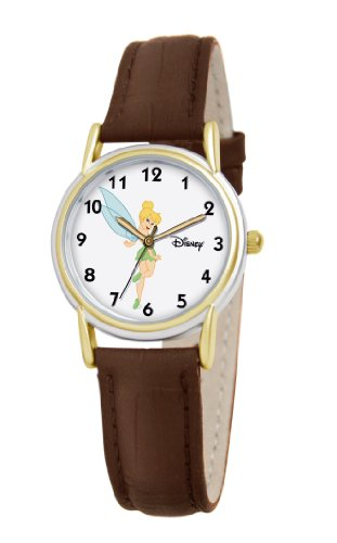 Disney Women's D091S007 Tinker Bell Brown Leather Strap Watch