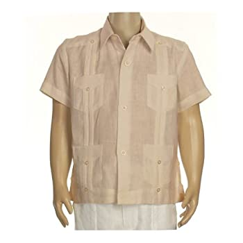Boys linen short sleeve guayabera in natural. Final sale