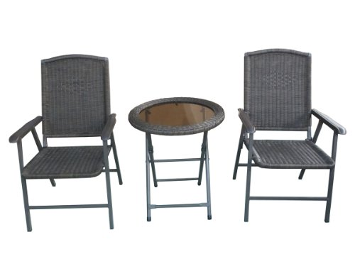 Abba Patio® 3 Piece Foldable and Stackable Rattan Bistro Patio Furniture Seating Set - Folding Table and 2 Folding Chairs, Comfortable Bistro Outdoor Set Great for any Balcony, Pool side, Porch, Deck, Yard or Garden, Grey