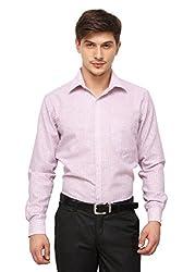 Copperline Pink Striped Slimfit Fullsleeves Cotton Formal Shirts.