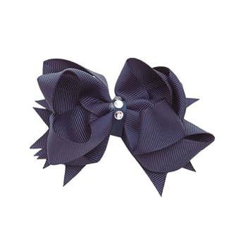 Reflectionz Girls Navy Blue Grosgrain Rhinestone Hair Bow Clippie