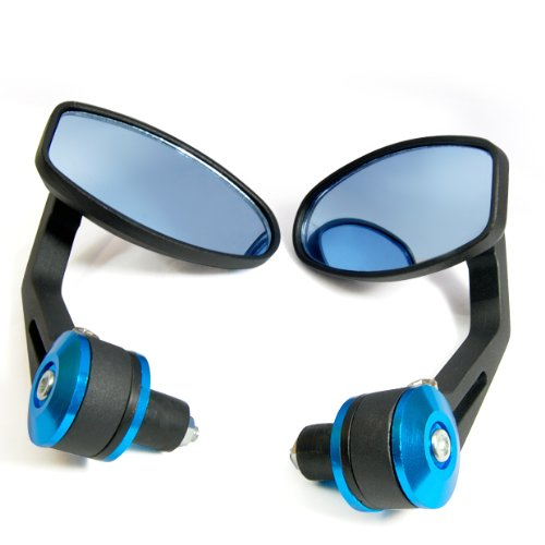 """Black Blue Motorcycle ATV Rear View Bar End Mirror Universal Fit 7/8"""" Pair Brand NEW"""