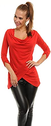 Glamour Empire. Women's Asymmetric Tunic Top Jersey Blouse Turn-up Sleeves. 044 (Red, 10)