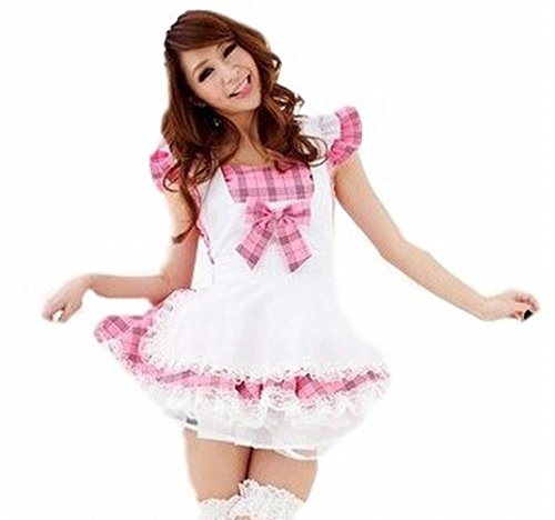 POJ Lolita Maid Costume of Japanese Cafe [ M Size Check Pink for Women ] Cosplay