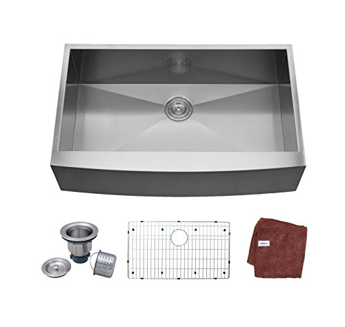 Ymbol AS3322 33-inch Farmhouse Apron-Front Single Bowl 16 Gauge Stainless Steel Kitchen Sink
