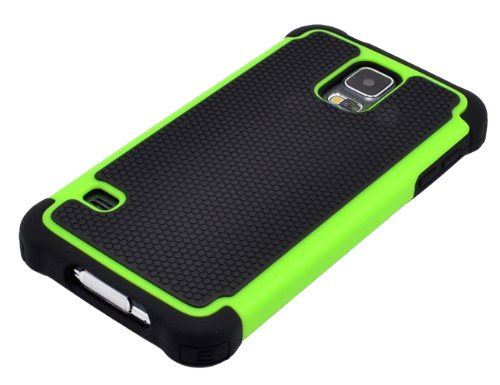 Mylife (Tm) Jet Black And Lime Green - Free Flex Series (2 Layer Neo Hybrid) Slim Armor Case For The New Galaxy S5 (5G) Smartphone By Samsung (External Rubberized Hard Shell Flex Piece + Internal Soft Silicone Flexible Bumper Gel + Lifetime Warranty + Sea