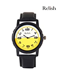 Relish Black Analog Round Casual Wear Watches For Men - B016A31GS0