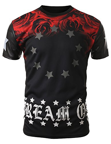J.Tomson Mens Graphic Print T-Shirt Black Red X-Large