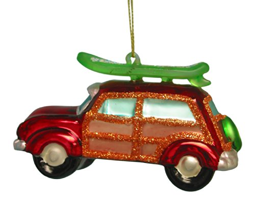 Red Blown Glass Vw Van Woody and Surfboard Christmas Ornament