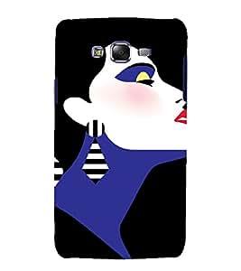 PrintVisa Fashion Short Hair Girl Art 3D Hard Polycarbonate Designer Back Case Cover for Samsung Galaxy J7