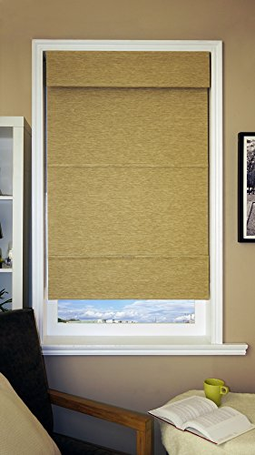 Chicology Jamaican Antique Gold Mag Roman Shade, 39 by 64-Inch, Antique Gold