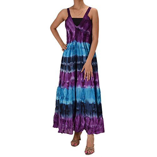Skirts & Scarves Cotton Tie N Dye Printed sleeveless Lace Work Dress For Women (Purple)