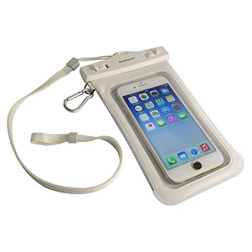 オウルテック 防水ケース iPhone6/6Plus等 スマートフォン対応 ネックストラップ カラビナ付 ホワイト OWL-MAWP07WH