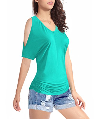 TTI Womens V-neck 1/2 Sleeves Waist folds Cotton Top Tee (Medium, LightGreen)
