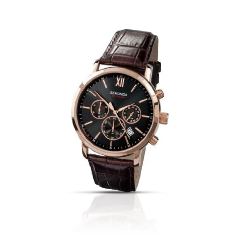 Sekonda-Mens-Quartz-Watch-with-Black-Dial-Analogue-Display-and-Brown-Leather-St