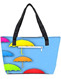 Pack Of 2 Abstract Rainy Season Background With Colorful Umbrella And Raindrops Combo Tote Shopping Grocery Bag...