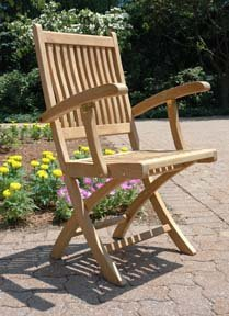 "36"" Natural Teak Rockport Outdoor Patio Wooden Folding Chair with Arm Rests"