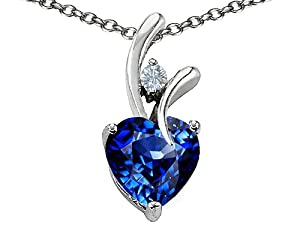Original Star K(tm) Heart Shaped 8mm Created Sapphire Pendant in .925 Sterling Silver