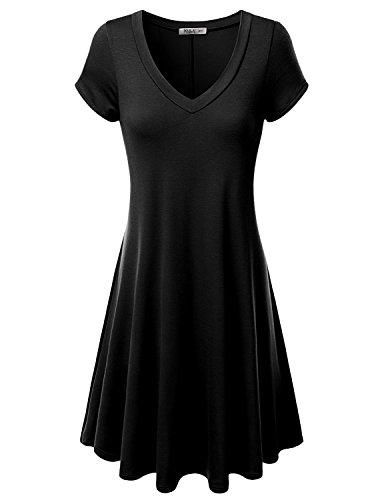JTOMSON-Womens-Short-Sleeve-V-neck-Flared-Dress-S-3XL