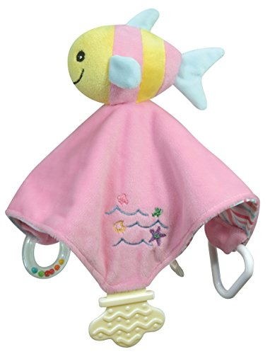 Stephan Baby Go Fish Plush Chewbie Activity Toy and Teething Blankie, Pink Fishie