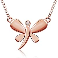 J.Rosee Jewelry Sterling Silver Dragonfly 3A Zirconia Pendant Necklace (Rose Gold)