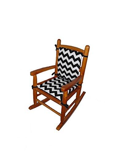 Baby Doll Chevron Junior Rocking Chair Pad, Black - 1