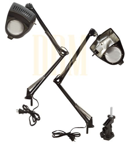 Clamp-On Table Desk Magnifier Magnifying Lamp Light 3 Diopter Swing Arm Black