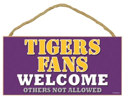 Lsu Tigers Wood Sign - 5''x10'' Welcome at Amazon.com