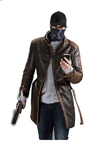 Cosplayhome Watch Dogs Aiden Pearce Brown Leather Coat Cosplay Costume Jacket